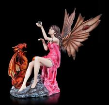 Elves Figurine - SALIMA with Red Dragon - Laura gruici Fantasy Fairy Ball Decor
