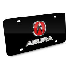 Acura 3D Red Logo and Name on Black Stainless Steel Metal Auto License Plate