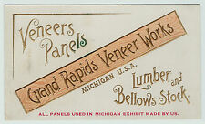 RARE Embossed Advertising Trade Card - 1880 Grand Rapids Veneer Bellows Lumber