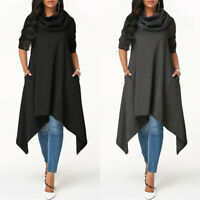 ZANZEA Women Cowl Neck Asymmetrical Long Shirt Dress Blouse Casual Shirt Tops