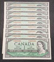 1954 Canada Lawson Bouey BC-37d $1.00 Banknote 9 Consecutive Prefix E/I
