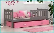 Kinderbett Tedi 160x70 cm Bett mit Matratze Bettkasten Grau Rosa Neu
