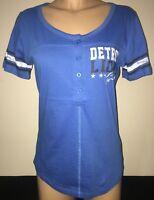 DETROIT LIONS NFL Team Apparel 5th & Ocean by NEW ERA Women's Henley Shirt M