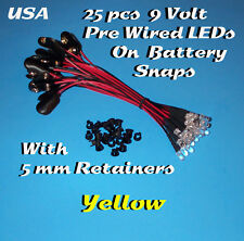 25 PRE WIRED 5MM LEDs 9 VOLT YELLOW LED  ON BATTERY SNAP 9V PREWIRED (Halloween