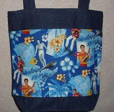 NEW Medium Denim Tote Bag Handmade/w Elvis Blue Hawaii Fabric