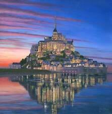 Superbe originale de Richard Harpum M.A (Camb) Mont Saint-Michel soir peinture