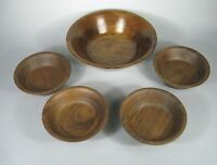 Set 5 Burl Walnut Wood Salad Bowls (4) Serving (1) Billings Missouri Woodenware