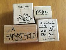 """4 Stamps 2000 Retired Stampin Up  Wood Rubber Mounted A Harvest Hello  """"for you"""""""