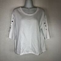 NWT Women's Zara Trendy Metal Stud Button Cotton Shirt Blouse White Size Medium