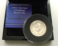More details for prince philip 25 pence pattern .999 silver proof-like crown, rr rare 100 struck!