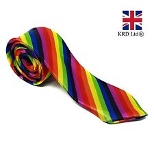 MENS RAINBOW TIE Skinny Classic Wedding Solid Necktie Smart Party Slim 16023 UK