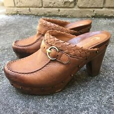 Womens EARTHIES Brown ALMOND ROCHELLE Leather Clog Mule Slip-On Shoes Size 8 B