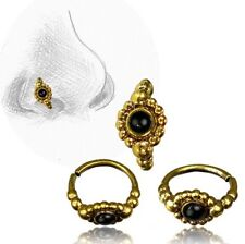 20G TRIBAL BRASS NOSE RING 7MM RING NOSE STUD HELIX 20G ONYX