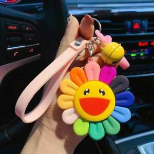Sunflower Hard Resin Key Ring Keychain Bag Charm with Soft Rubber Tag