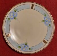 "Vintage Meito China 6 1/4"" Handpainted Plate ~ Bue Flowers ~ Gold Rim ~ Japan"