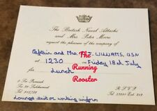 The British Naval Attache Rsvp Card Invitation Thailand 1975 to Us Navy Capt.