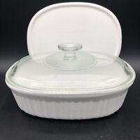 Corning Ware French White Stoneware 1 1/2 Qt Casserole Dish w/ Pyrex Glass Lid