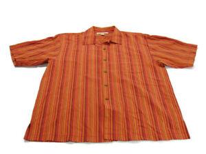 Tommy Bahama Shirt Orange Red Green Stripe Short Sleeve Button Up Pocket Mens L
