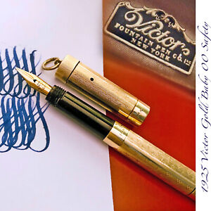 1925 VICTOR 14K GOLD SAFETY GUILLOCHE NY USA BABY 00 FLEX VINTAGE FOUNTAIN PEN