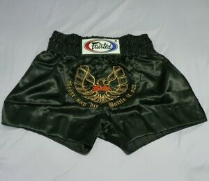 FAIRTEX SHORTS BS0642 MUAY THAI KICK BOXING MMA SIZE L BLACK SATIN PHOENIX