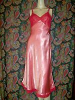 Vintage Corette Pink Satin 1940's Lacy Bias Cut Nightgown Nighty Lingerie