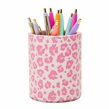 Pink Pencil Holder Faux Leather Pen Cup For Leopard Print Office Supplies