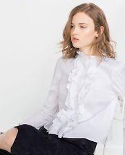 Zara Ruffle Front Frill Top White Size XS