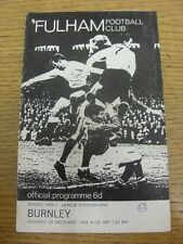 28/12/1964 Fulham v Burnley  (Creased, Worn, Pin Hole To Corner, Number Noted On