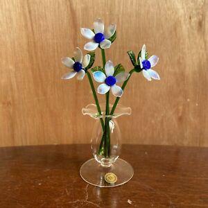 Glass Flowers - Clematis White - Suffolk Studio Glass UK Handmade Model - New
