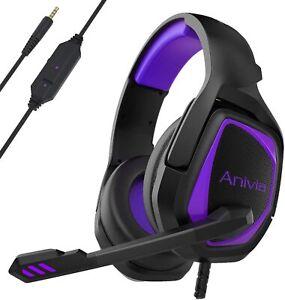 PS4 Headset, MH602 Gaming Headset,Xbox one Stereo Headphone Purple