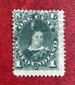 1887 Newfoundland SC#50a, Dark Green 1c Used Canada Stamp, Off Center