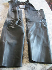 XPERT PERFORMANCE GEAR~Black COWHIDE LEATHER MOTORCYCLE CHAPS~Large~NWT