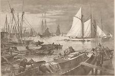 Yacht Rendevous. Gowanus Bay, Brooklyn.Harper's Weekly. 1877 Engraving