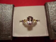 Rose De France Amethyst Ring w/Simulated Multi-Colored Diamond in 925 Sterling