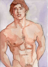 ORIGINAL LARGE MALE NUDE Watercolor - DENNIS - by GERMANIA