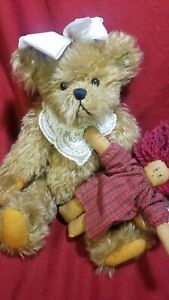 """Annette Funicello Bear Collector Bear with Raggedy Ann style doll 12"""" EUC"""