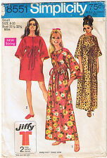 Vtg 60s Caftan Robe Drawstring Raised Waist Kimono Sleeve Sewing Pattern Sz 8 10