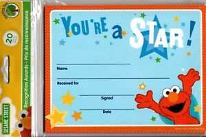 Recognition Awards Certificates Sesame Street ElmoYou're a Star -  20 count