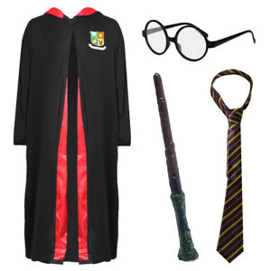 KIDS WIZARD COSTUME KIDS WORLD BOOK DAY FANCY DRESS GLASSES WAND TIE