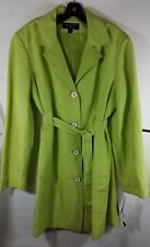 Spring Trench Coat Green Linen Blend by Larry Levine Sz 18 NEW w/ Tags MSRP $240