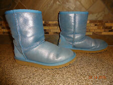 Youth/Child/Kids Girls UGG Light Blue Metallic Fur Lined Boots Sz 5/35