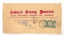 AH112 c1944 India Bombay Indias Stamp Journal Cover NY USA PTS