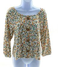 Self Esteem Juniors Multi Color Floral 3/4 Sleeve Top Casual Shirt Size Medium