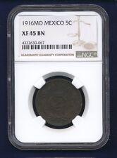 MEXICO ESTADOS UNIDOS  1916  5 CENTAVOS COIN, NGC CERTIFIED XF-45-BN SCARCE DATE