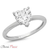 2.0 CT BRILLIANT HEART SHAPED CUT SOLITAIRE ENGAGEMENT RING REAL 14K WHITE GOLD
