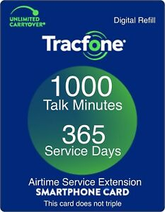 TracFone 1 Year 365 Days Service Digital Refill 1000 Minutes Only Smartphones