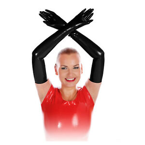 Rubberfashion sehr lange Latex Handschuhe Latexhandschuhe Oberarm