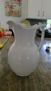 antique white ironstone pitcher