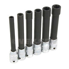 6-piece T-star / E-type Sockets Female Extra Long, E10 - 20 For Cylinder Head