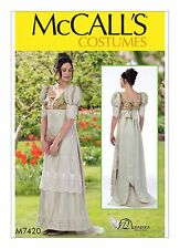MCCALLS SEWING PATTERN 7420 MISSES REGENCY ERA GOWN COSTUMES SIZES 6-14